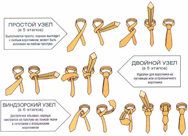 как правильно завязывать галстук. картинки
